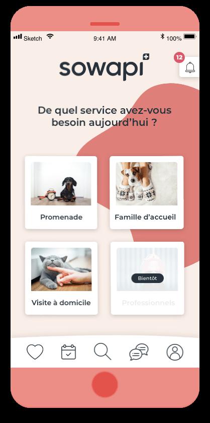 Vue de nos services dans l'app de pet-sitting